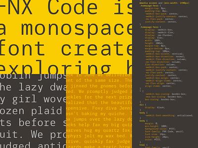 FNX Code - Draft Specimen code glyphs font design type type design monospace font