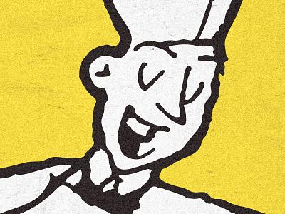 Happy Waiter fifties sketch happy diner waiter illustration