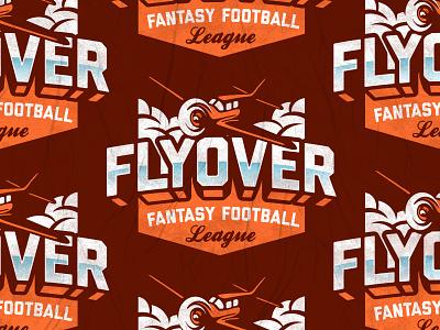 Flyover Fantastical Football League emblem badge kansas plane football logo sports logo fantasy football football sports