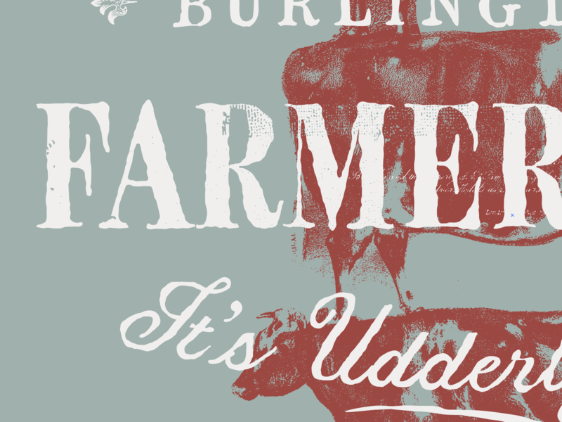 Udderly Great etching texture cow kansas farmer brand identity