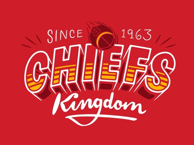 Chiefs Kingdom nfl football shadow lettering procreate sketch kansas city lettering chiefs