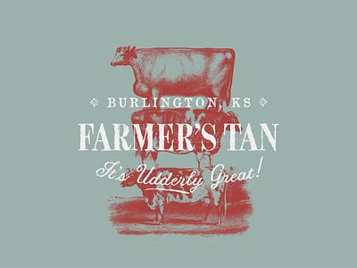 Farmer's Tan - Unused type lockup texture rural farm wheat tanning salon farmer identity logo