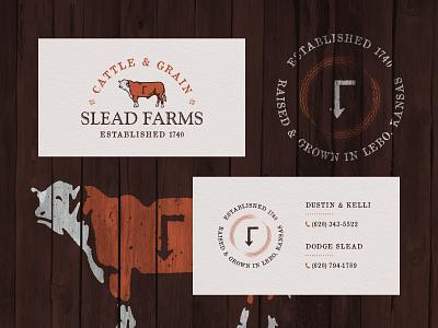 Slead Farms - Biz Cards business cards collateral identity brand cow heifer grain cattle family farm farm