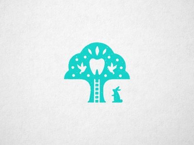 Pediatric Dentistry playhouse teeth rabbit tooth tree dentistry pediatric identity logo