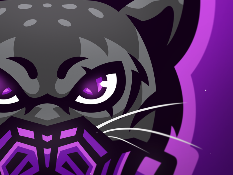 closeup design illustration eyes purple mascot logo mascotlogo panther