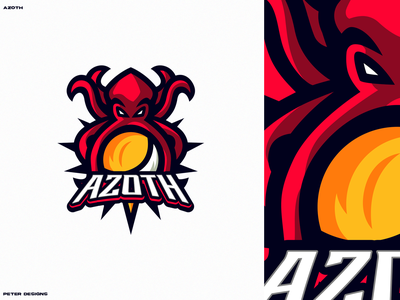 Azoth illustrator logo mascot logo sun and moon octopus