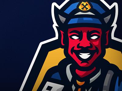 Demon postman mascotlogo branding design illustration logos procreate horns devil logo red demon mascot logo