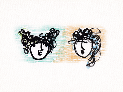 Girls talking 2021 pencils brush sketch illustration face woman girl