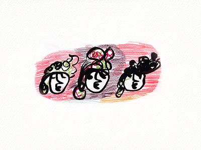 Cool girls girls 2021 brush pen art cool tolking illustration
