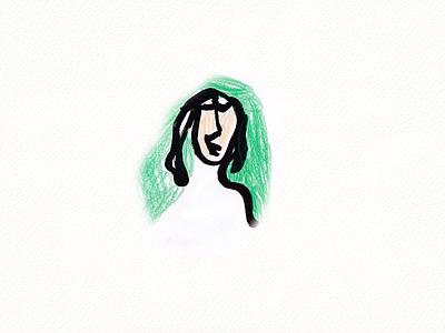 Green woman face art sketch green woman girl 2021 kids illustration illustration