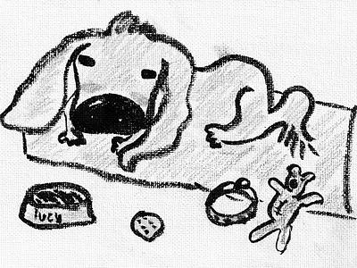 Dog Lucy 2021 art sketch brush pen pencil girl dog cute kids illustration illustration