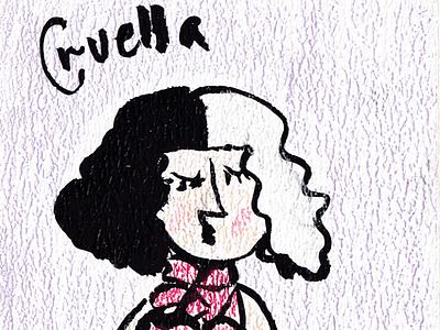 Cruella de vil 2021 art sketch woman girl kids illustration illustration