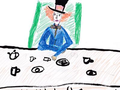 Mad hatter tea drinking boy man 2021 art sketch hatter mad kids illustration illustration