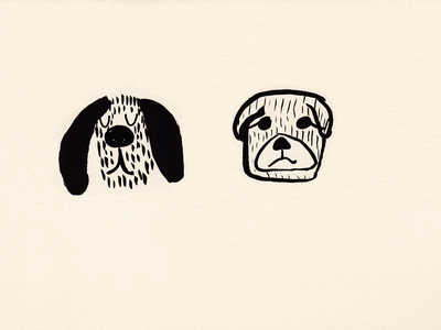 Two dogs 2021 brush pen art sketch two dog kids illustration illustration