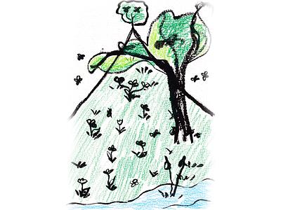 Summer mountain 2021 art sketch brush pen tree summer mountain kids illustration illustration