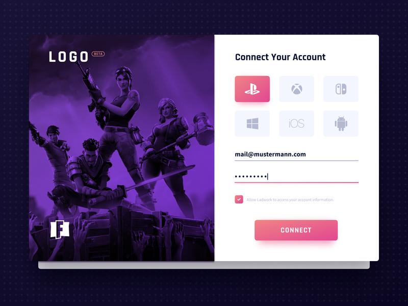 Gaming Platform - Account Connection register esports login gaming web desktop ux ui design app