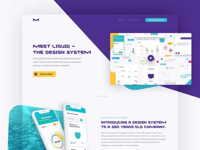 Liquid Design System Landing Page Relaunch video micro interaction animation dashboard health science healthcare copy text links buttons elements mobile atomic design system web landing page website ui ux