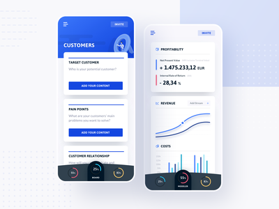 Moldr - Mobile Concept 📱 web circle graph moldr canvas board modeler business navigation interaction button zoom illustration isometric graph dashboard tablet mobile app ui ux