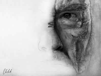 Old man's face- illustration
