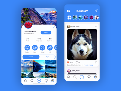 Instagram UI Redesign redesign instagram redesign instagram app ui app designer app design uiux design ui design mockup