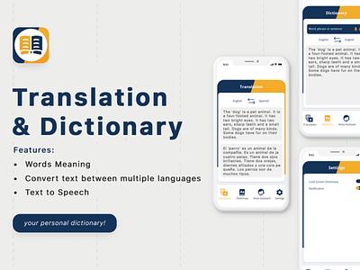 Dictionary And Translator App UI Design app designer app design uiux ui design ui design mockup