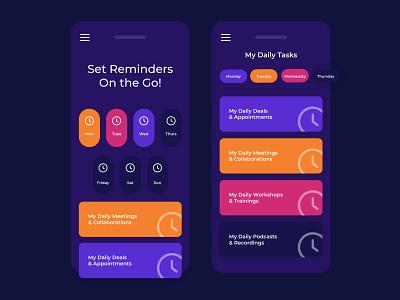Reminder App UI Design (Dark Mode) branding graphic app app designer app design uiux ui design ui design mockup
