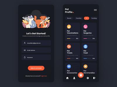 Pet Profile App UI Design graphic app app designer ui app design uiux design ui design mockup