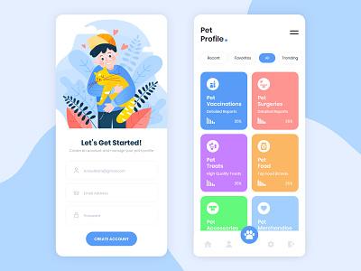 Pet Profile App UI Design vector graphic app app designer app design uiux ui design ui design mockup