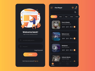 Video Player App branding graphic app app designer app design uiux ui design ui design mockup