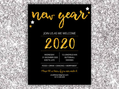 New Year Card Design (Inspiration) ui design year2020 2020 new years eve happy new year mockup psd invitation card design invitation design invitation card design card new year new year card design card design