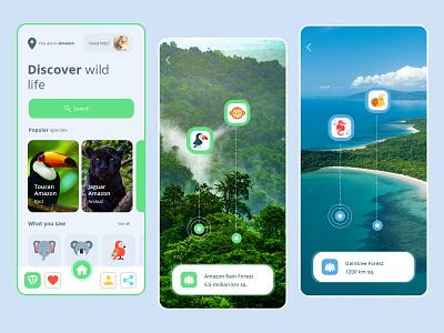 Wildlife App UI Design wildlife wildlifeapp graphic app app designer app design ui uiux design ui design mockup
