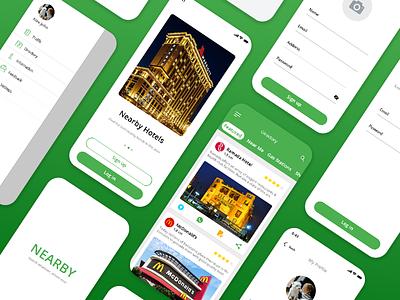 Nearby App UI Design graphic app app designer app design ui uiux design ui design mockup