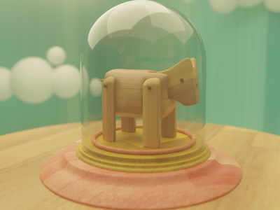 Saudade render blender 3d display toy kid clouds glass dome wood donkey saudade