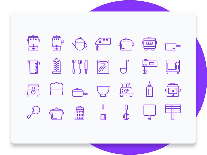 Kitchen Line Icon Set