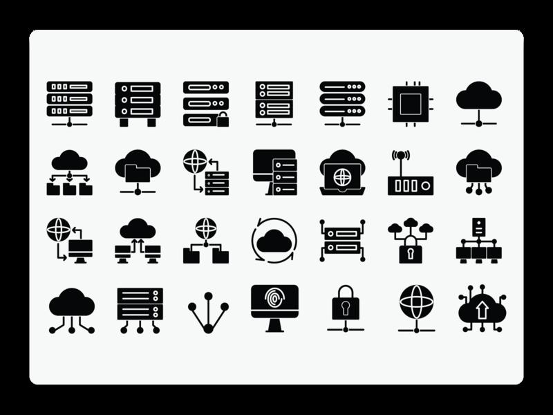 Database Solid Icon Set