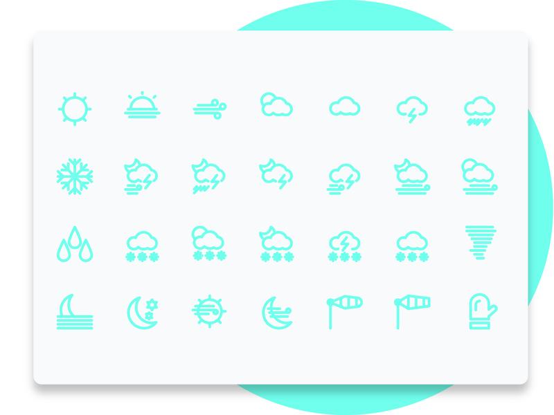 Weather Line icon Set