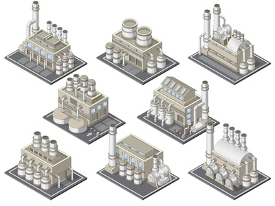 Set of industrial buildings. model industry tube pipe storage plant home house facade production manufacturing chemical industrial factory equipment isolated isometric building kit set