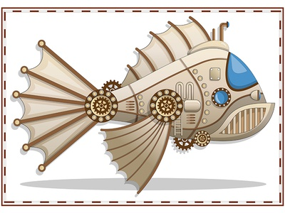 A submarine in the shape of a fish.