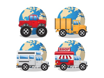 Different cars on the background of the globe.