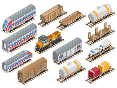 Railway locomotive and wagons.