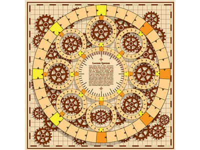 Board game with a background of gears.