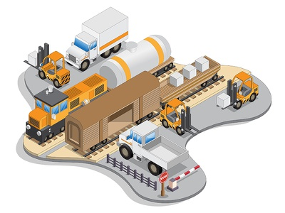 Railroad station. transport industry carrier cargo delivery unloading loading platform isometric car automobile lorry truck wagon rails train station railroad railway locomotive
