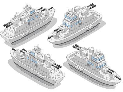A set of warships. boat cannon cruiser fleet navy maritime weapon gun grey frigate isometric marine naval battleship battle warship military combat vessel ship