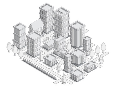 City. facade outdoors architecture cityscape infrastructure map urban plan road tree building highway street way locality town district house home city