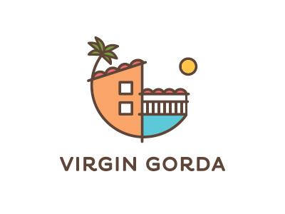Villas Gorda tile roof palm tree porch ocean water logo sun simple