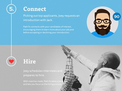 Path.To Steps illustration heart steps instructions how to connect hire high five jobs interface ux