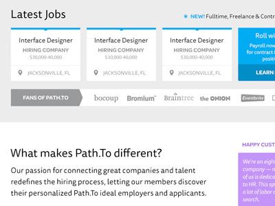 Pathto2 jobs job board location home page hire interface ui ux