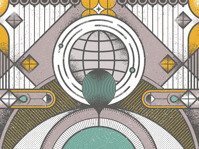 Always Summer Poster  tears globe eye geometric poster music lines texture art deco