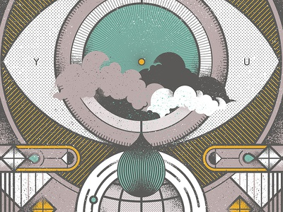 Aiga Posterkg2 tears globe eye geometric poster music lines texture art deco