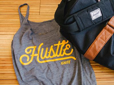 Hustle Tank yellow mustard retro promo typography type gym tank hustle